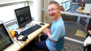 Lucas using a computer.